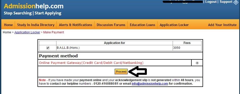 AILET application fee